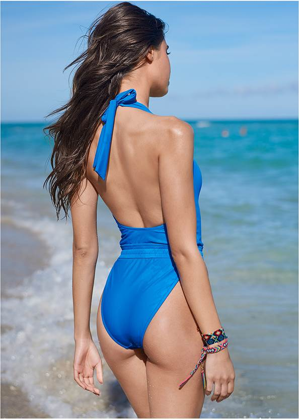 Cropped back view Sporty Waistband One-Piece