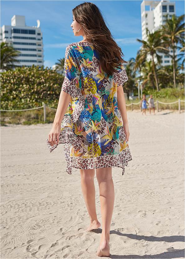 Full back view Front Tie Kimono Cover-Up