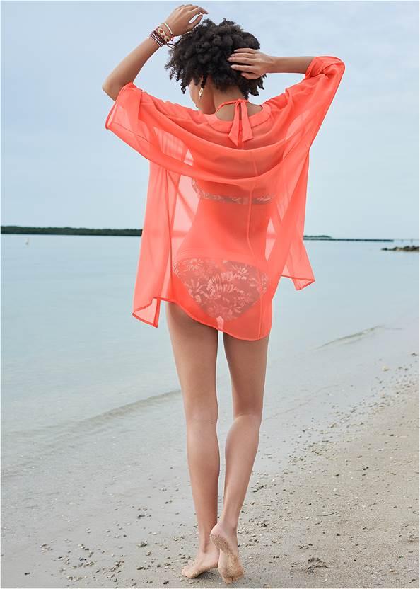 Full back view Sheer Kimono Cover-Up