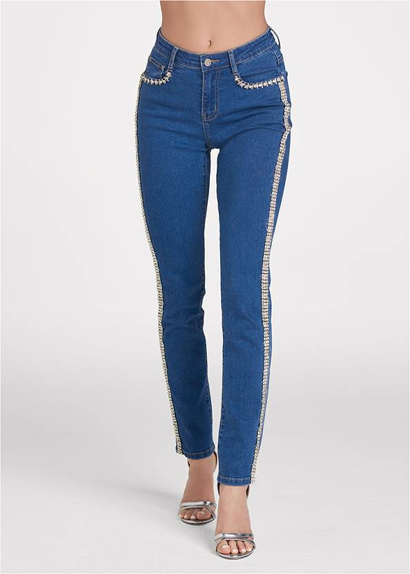 Front View Rhinestone Embellished Jeans