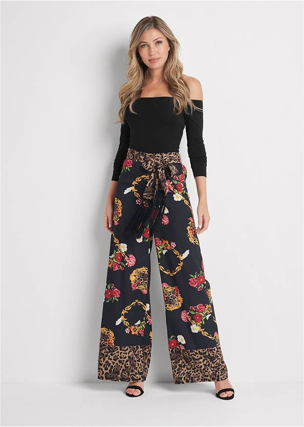 Floral And Leopard Pants,Off The Shoulder Top,Cut Out Mock Neck Top,Sexy Slingback Heels,Raffia Hoop Earring Set,Animal Chain Crossbody Bag
