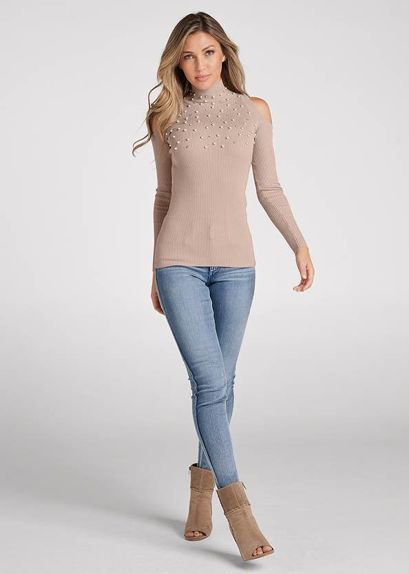 Full front view Pearl And Stone Embellished Sweater