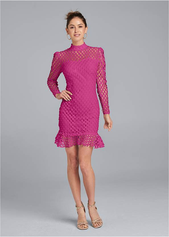 Alternate View Mock Neck Lace Dress
