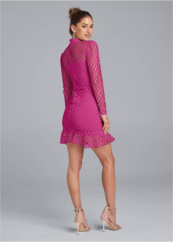 Back View Mock Neck Lace Dress