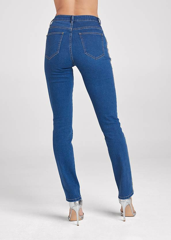 Back View Rhinestone Embellished Jeans