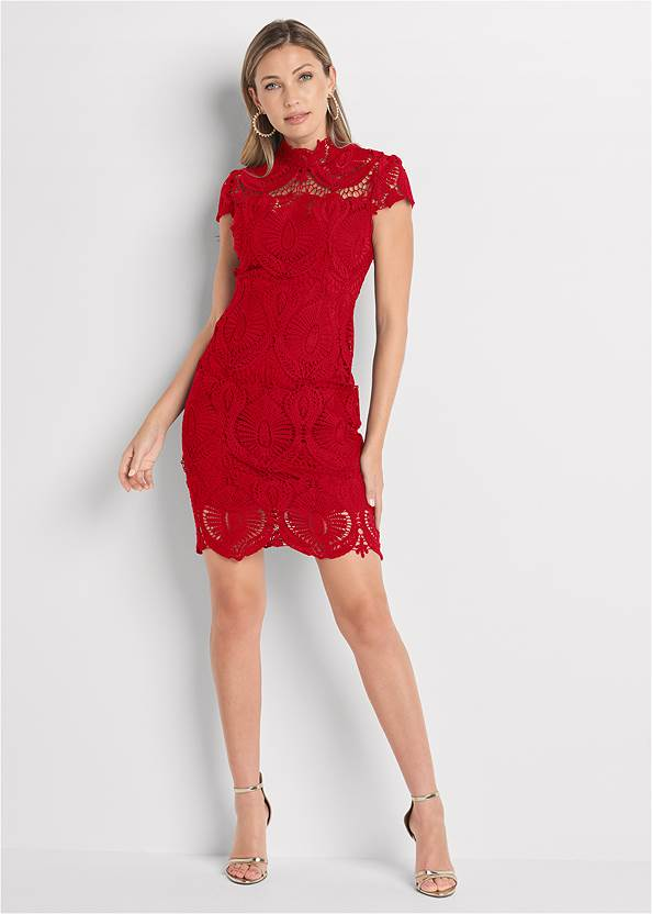 Alternate View Lace Midi Dress