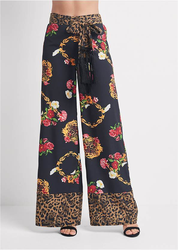 Detail front view Floral And Leopard Pants
