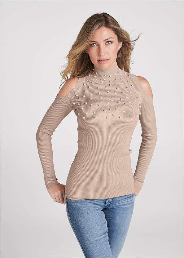 Pearl And Stone Embellished Sweater,Mid Rise Color Skinny Jeans,Bum Lifter Jeans,Whipstitch Peep Toe Booties