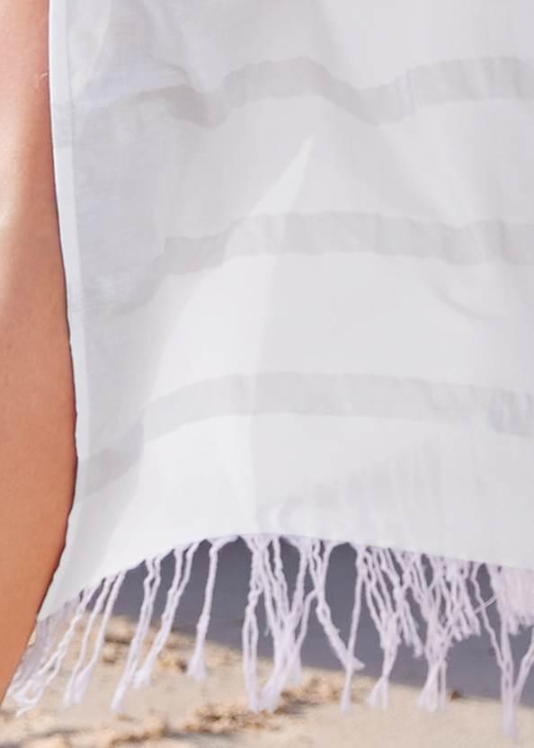 Detail back view Metallic Stripe Fringe Cover-Up