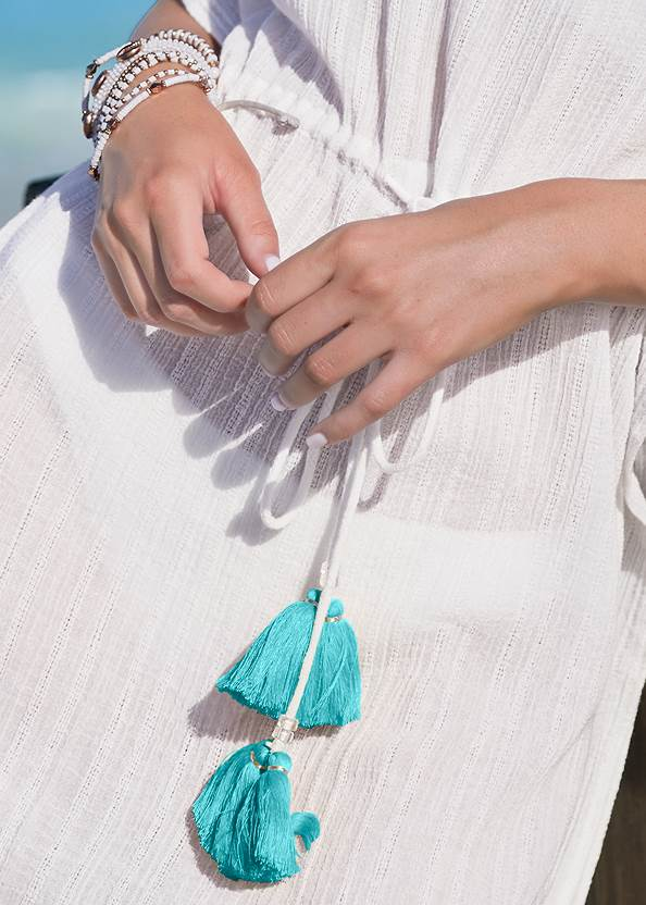 Detail front view Tassel Trim Cover-Up Tunic