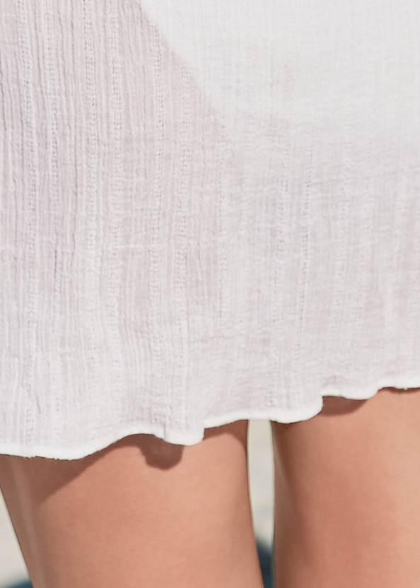 Detail back view Tassel Trim Cover-Up Tunic