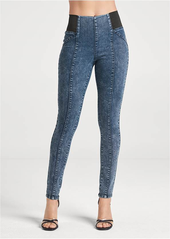 Waist down front view Pull On Pintuck Jeggings