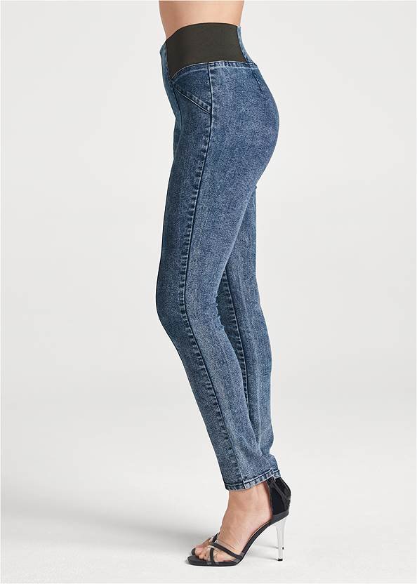 Waist down side view Pull On Pintuck Jeggings