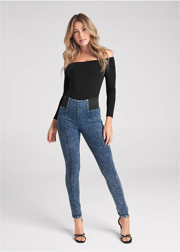 Pull On Pintuck Jeggings,Off-The-Shoulder Top,Draped Sleeve Top,Chain Detail Hoop Earrings,Sexy Ankle Strap Heels,Studded Faux Leather Tote
