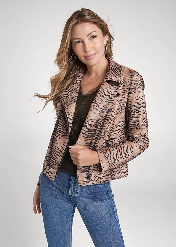 Tiger Print Moto Jacket,Lace Detail Tank,Bum Lifter Jeans,Slouchy Pointed Toe Booties,Chain Detail Hoop Earrings,Studded Mini Bucket Bag