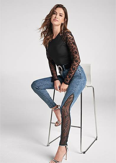 Lace Inset Skinny Jeans