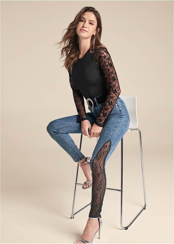 Lace Inset Skinny Jeans,Lace Sleeve Bodysuit,Mesh Detail Top,Sexy Ankle Strap Heels,Rhinestone Fringe Earrings,Rhinestone Clutch