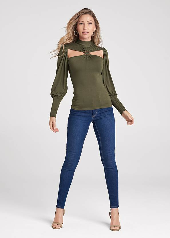 Full front view Ring Detail Mock Neck Top