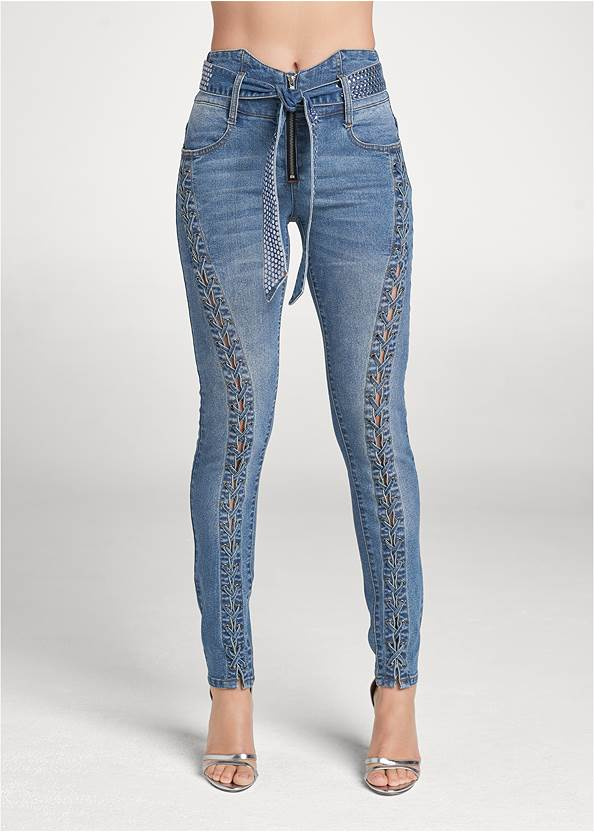 Front View Lace Up Tie Belt Jeans