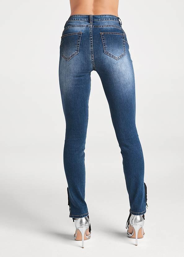 Waist down back view Fringe Trim Jeans