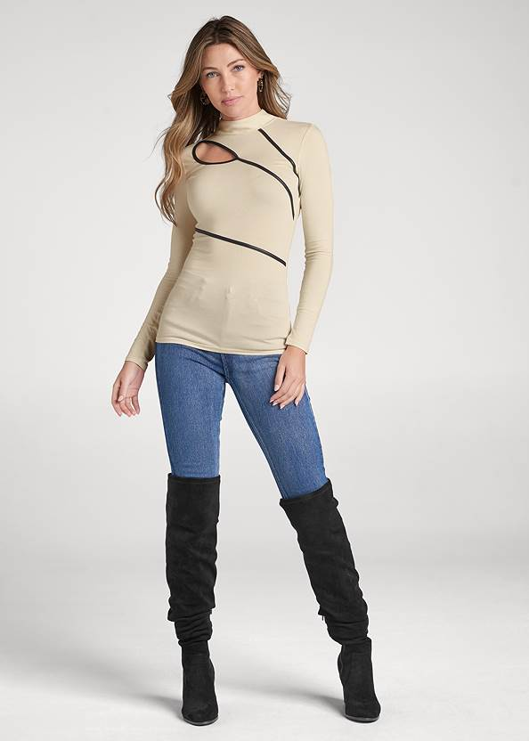 Full front view Mock Neck Top