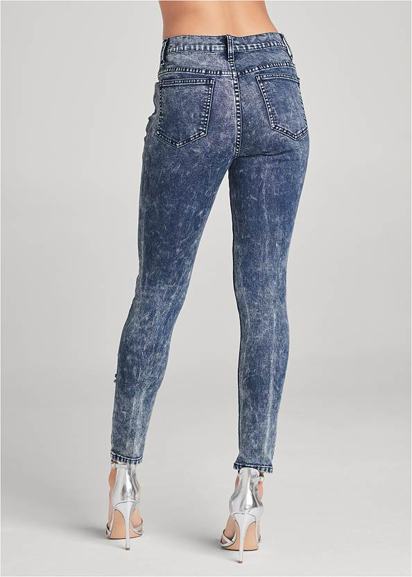 Back View Ripped Acid Wash Jeans