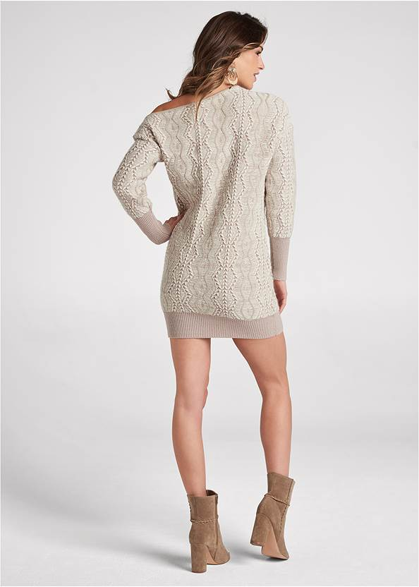 Full back view One-Shoulder Sweater Dress