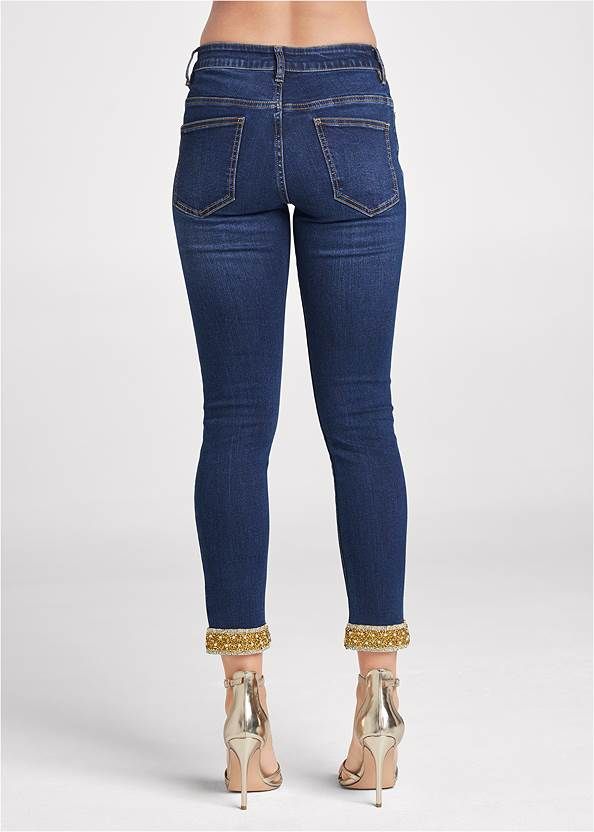 Waist down back view Embellished Cropped Jeans