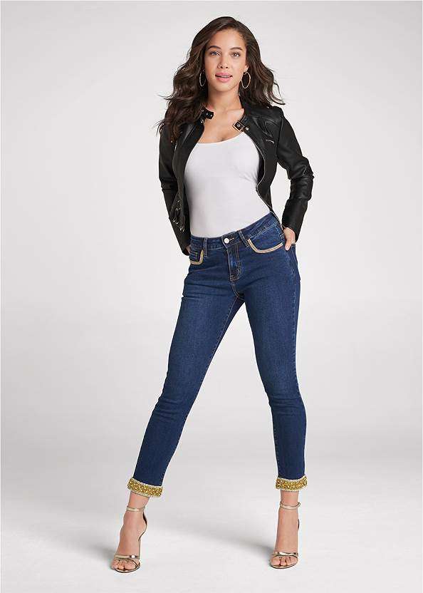 Embellished Cropped Jeans,Basic Cami Two Pack,Off-The-Shoulder Top,Faux Leather Lace Up Jacket,Sexy Ankle Strap Heels,Chain Detail Hoop Earrings,Ring Detail Oversized Bag