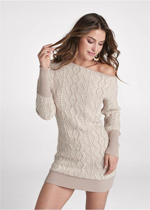 One-Shoulder Sweater Dress,Pearl By Venus® Strapless Bra,Pearl By Venus® Retro High Leg Panty 3 Pack,Whipstitch Peep Toe Booties,Boho Chandelier Earrings