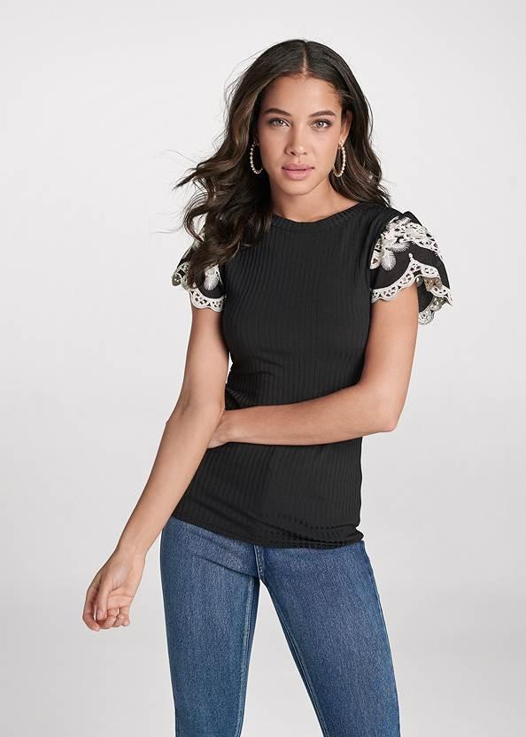 Lace Flutter Sleeve Top,Bum Lifter Jeans,Floral Applique Skinny Jeans,Peep Toe Booties,Pearl Hoop Earrings,Animal Chain Crossbody Bag