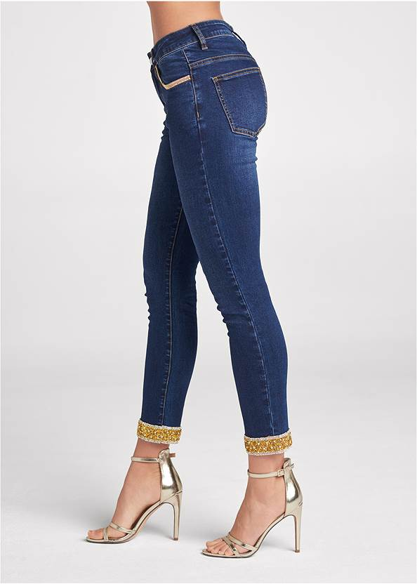 Waist down side view Embellished Cropped Jeans