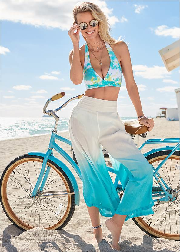 Ombre Coverup Bottoms,Perfect Fit Halter Top,Ruched Side Bottom,Slimming One-Piece,Rhinestone Flip Flop Sandal,Raffia Detail Bag
