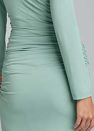 Detail back view V-Neck Ruched Bodycon Dress