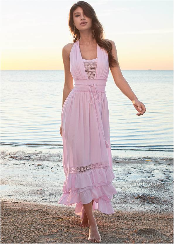 Front View Tiered Lace Trim Maxi Dress