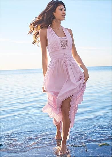 Tiered Lace Trim Maxi Dress