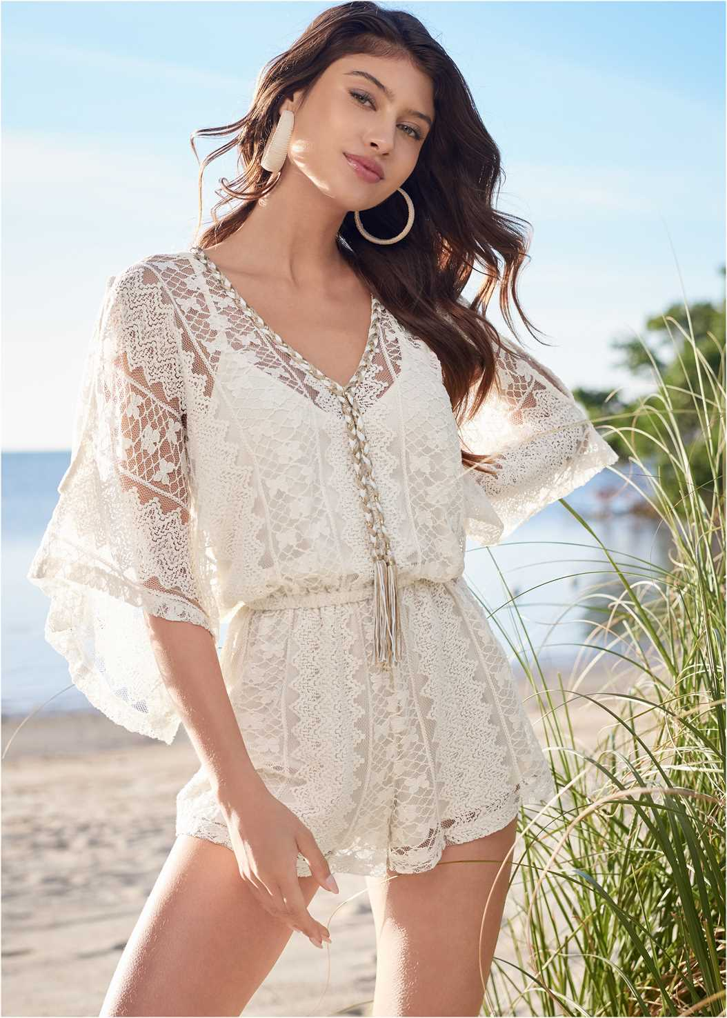 Crochet Romper,Raffia Wrapped Hoops