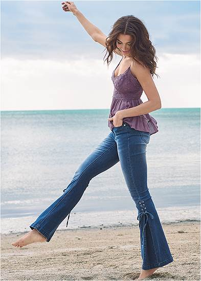 Lace-Up Flare Jeans
