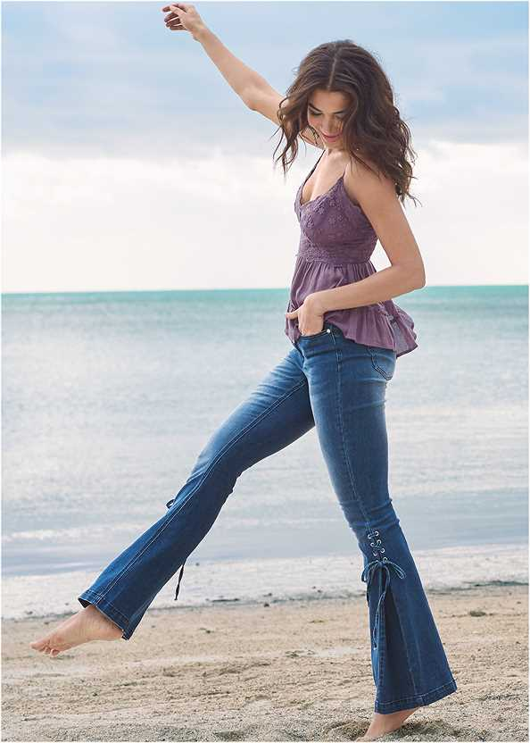 Lace Up Flare Jeans,Easy Halter Top,Lace Detail Sleeveless Top,Lucite Toe Loop Mule