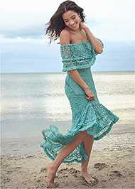 Front View Off Shoulder Lace Maxi Dress