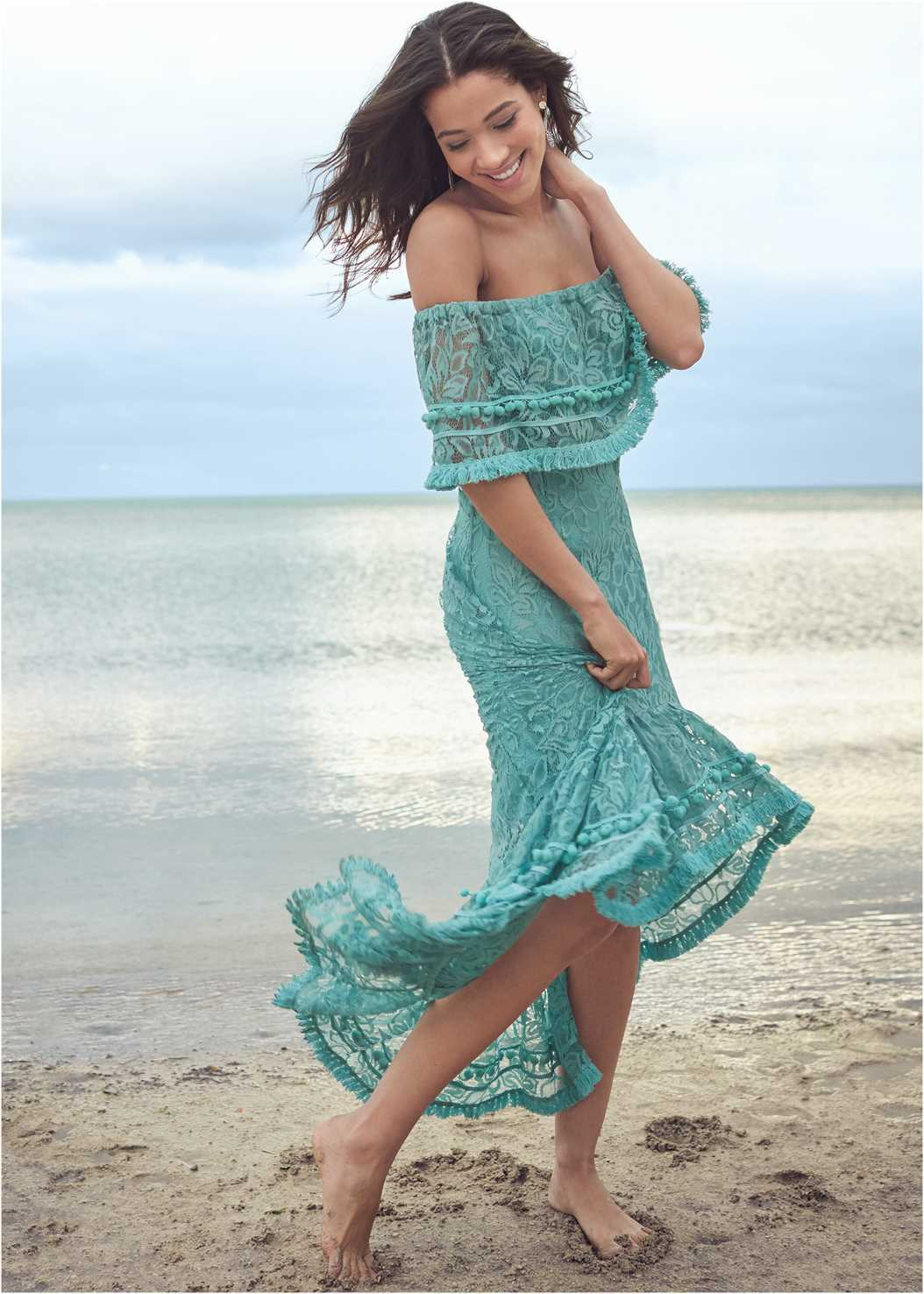 Off Shoulder Lace Maxi Dress,Multi Strap Ankle Wrap Heel,Tie Dye Tassel Earrings
