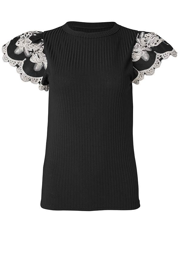 Ghost with background  view Lace Flutter Sleeve Top