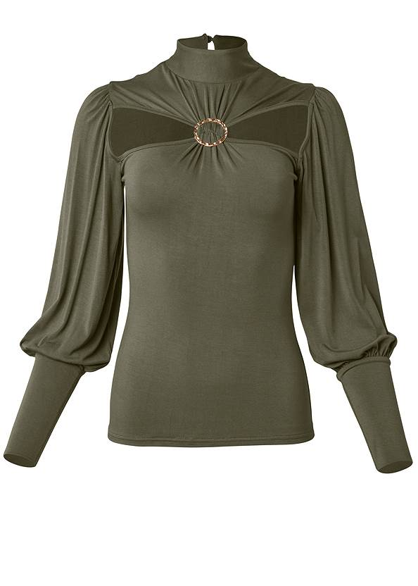 Ghost with background  view Ring Detail Mock Neck Top