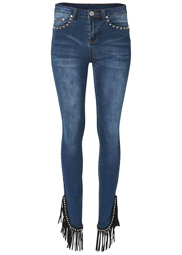 Ghost with background  view Fringe Trim Jeans