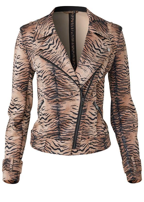 Alternate View Tiger Print Moto Jacket