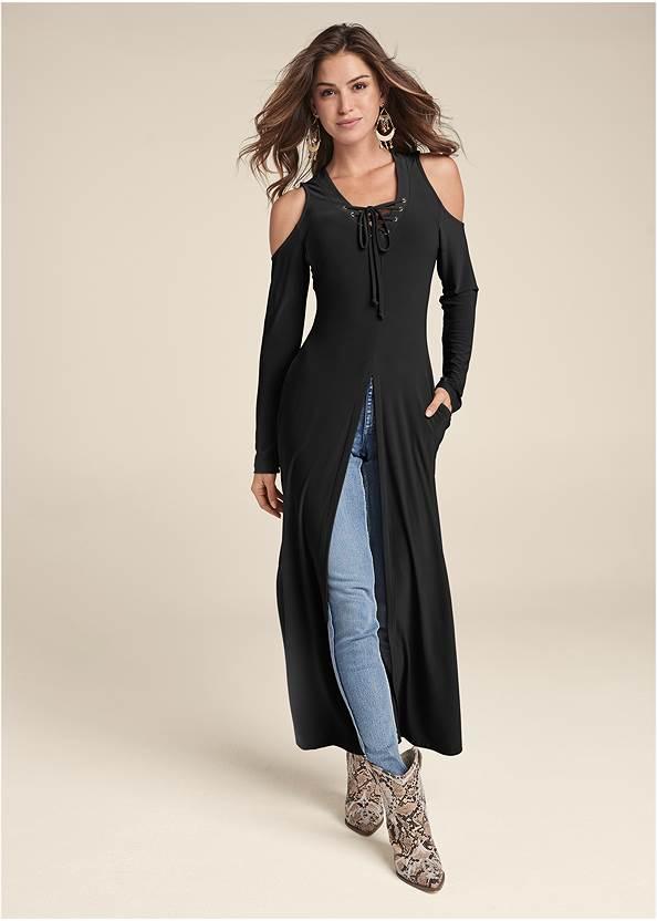 Cold Shoulder Maxi Top,Mid Rise Color Skinny Jeans,Fishnet Inset Jeans,Boho Chandelier Earrings,Fringe Wristlet Bag,High Heel Strappy Sandals,Raffia Hoop Earring Set