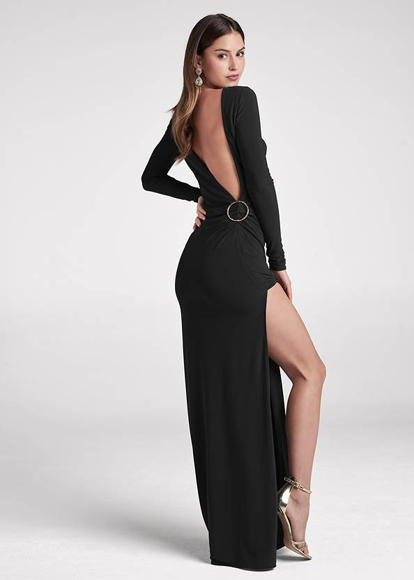 Back View Plunging Back Long Dress