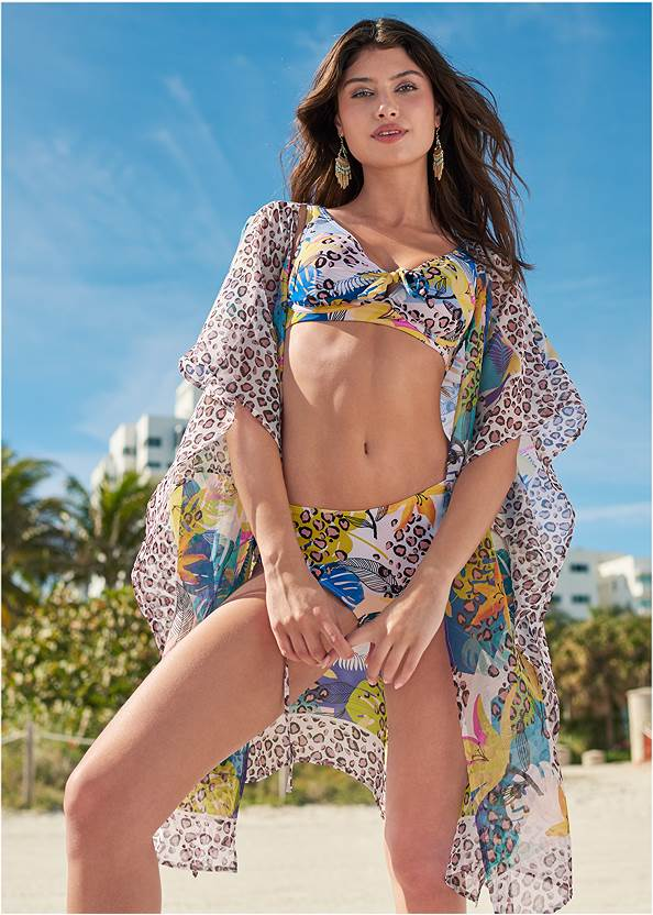 Front Tie Kimono Cover-Up,Bandeau One-Piece