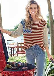 Cropped Front View Americana Sweater