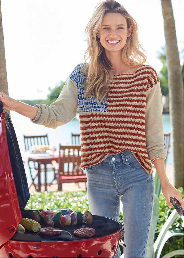 Americana Sweater,Mid Rise Color Skinny Jeans,Frayed Cut Off Jean Shorts,Multi Strap Block Heel Mule
